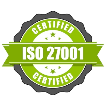 Badge De Certificat Standard Iso 27001 - Gestion De La Sécurité De L'information Vecteur Premium
