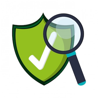 Badge certifié et symboles en forme de loupe