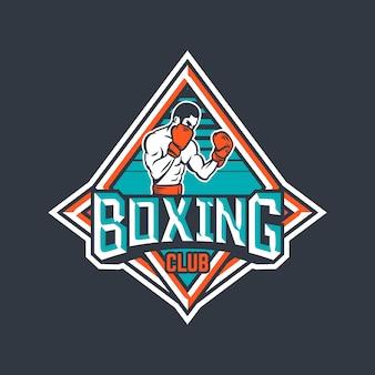 Badge de club de boxe avec illustration de boxeur
