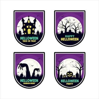 Badge collection de design halloween heureux