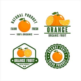 Badge collection de logo de produit biologique de fruits orange