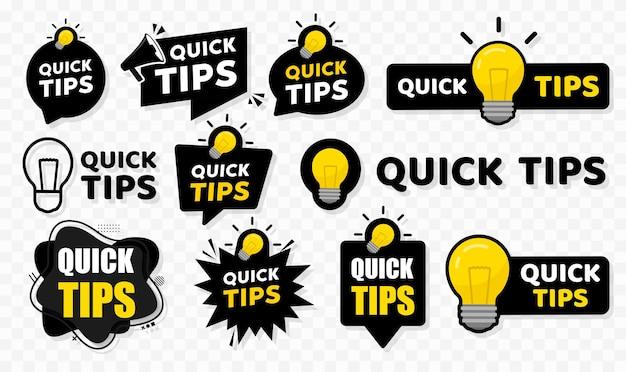 Badge de conseils rapides. illustration vectorielle