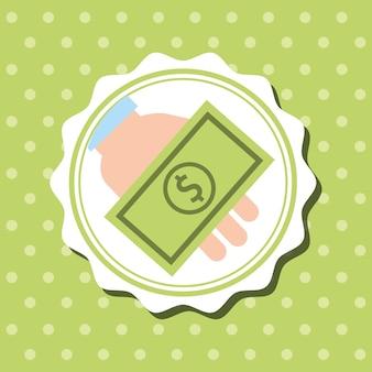 Badge dots fond main tenant des billets