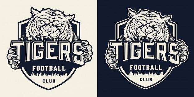 Badge d'équipe de football monochrome