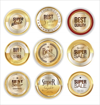 Badge et étiquettes dorées
