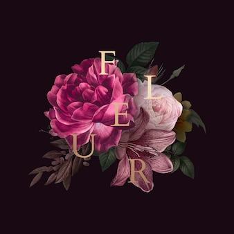 Badge fleur floral