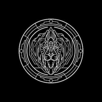 Badge géométrie lion