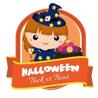 Badge d'halloween avec une adorable sorcière