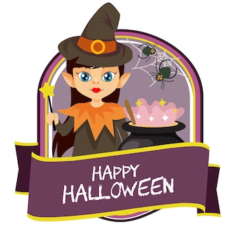 Badge d'halloween avec un dessin animé de sorcier