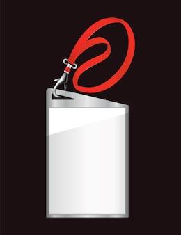 Badge d'identification vierge. modèle de porte-nom en plastique en plastique. carte de passage, étiquette de bureau personnelle ou badge vide sur lanière réaliste
