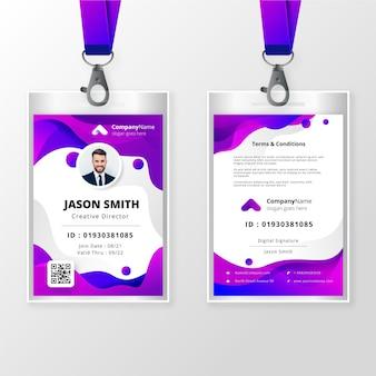 Badge d'identité abstrait avec photo