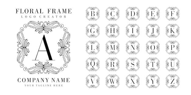 Badge initial avec modèle de cadre floral