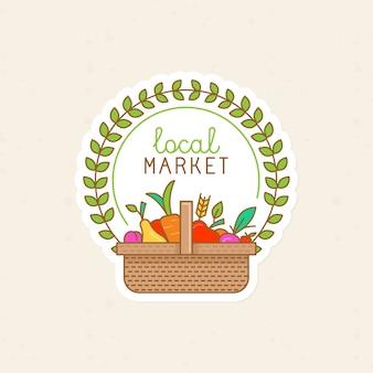 Badge linéaire vecteur - marché local