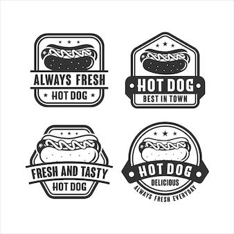 Badge logo design frais et savoureux hot-dog