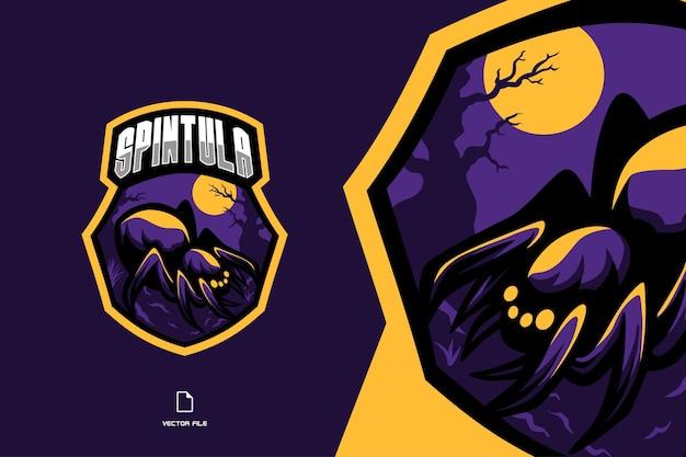 Badge de logo de jeu esport mascotte araignée violette