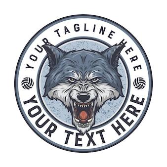 Badge de loup, texte de couleur facile à changer et prêt à être utilisé pour tous les besoins