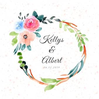 Badge de mariage avec cadre floral aquarelle