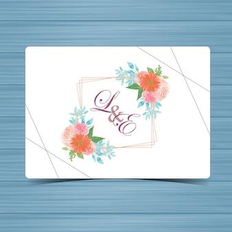 Badge de mariage floral avec de belles fleurs
