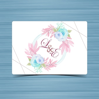 Badge de mariage floral avec de belles roses bleues