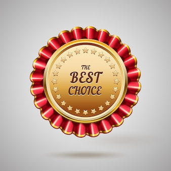 Badge en métal doré. meilleur signe de choix. illustration vectorielle