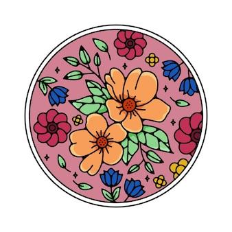 Badge monoline fleur orange