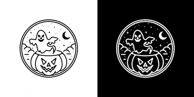 Badge monoline d'halloween
