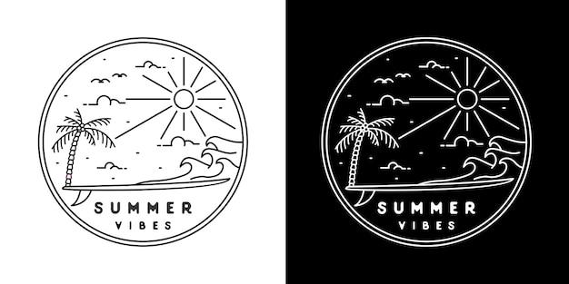 Badge monoline summer vibes de planche de surf