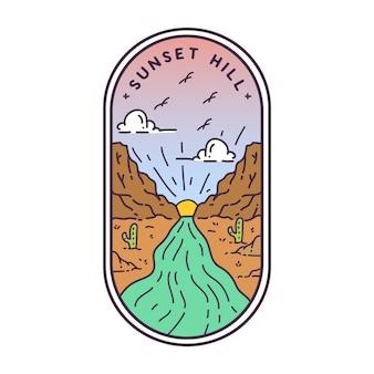 Badge monoline sunset hill