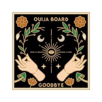 Badge monoline vintage ouija board