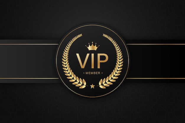 Badge noir carte vip doré
