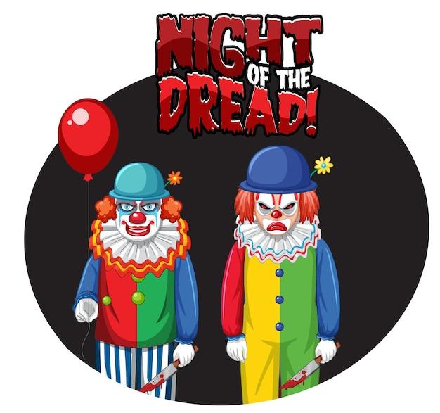 Badge nuit de l'effroi avec deux clowns effrayants