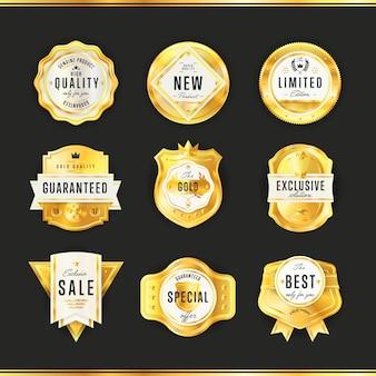 Badge or avec vecteur de texte noir isolé