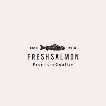 Badge de poisson saumon logo fruits de mer rétro hipster étiquette vintage