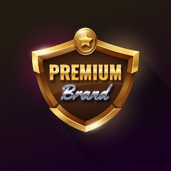 Badge premium bouclier d'or
