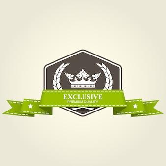 Badge premium héraldique - emblème avec couronne et ruban