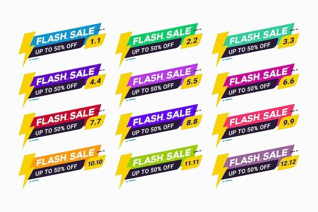 Badge de promotion d'étiquette d'emblème de vente flash