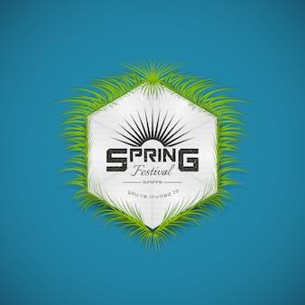 Badge réaliste de la fête du printemps