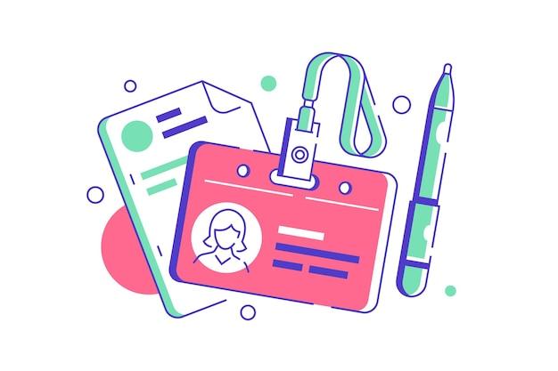 Badge de responsable rh pour employé avec documents ou cv avec stylo