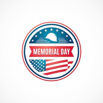 Badge rétro du jour du souvenir avec le drapeau américain.