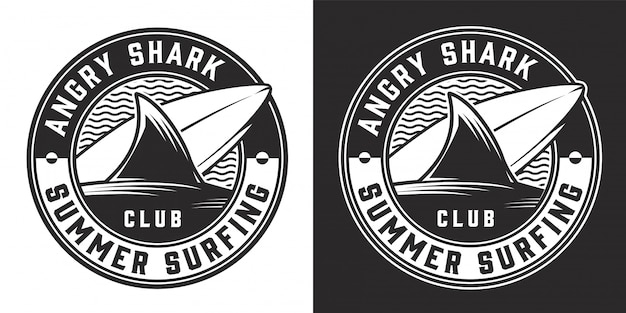 Badge rond monochrome de surf club vintage