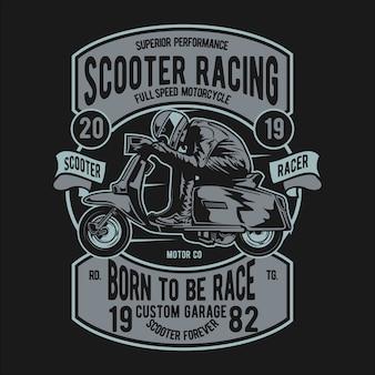 Badge scooter coureur