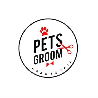 Badge de soins vétérinaires avec logo de marié pour animaux de compagnie