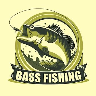 Badge de tournoi avec logo de pêche en basse