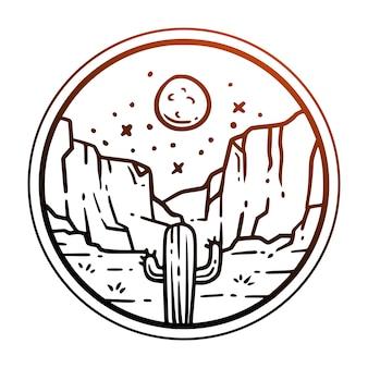 Badge vintage cactus arbres dans les champs