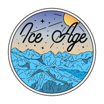 Badge vintage de la période glaciaire de monoline