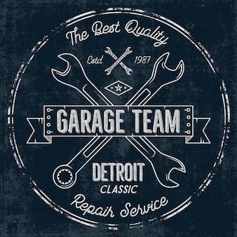Badge vintage de service de garage