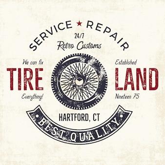 Badge vintage de service de réparation de voiture