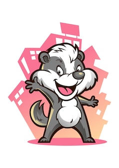 Badger town mascotte design