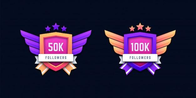 Badges d'abonnés 50k et 100k sur les réseaux sociaux