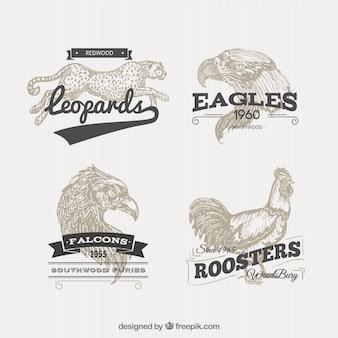 Badges des animaux dans le style rétro